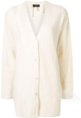 Fendi Pre Owned Zucca pattern jacquard cardigan