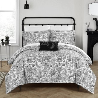Chic Home 3-Piece Newark Park Super Soft Microfiber Vintage Paisley pattern Printed two tone Twin Duvet Cover Set Black