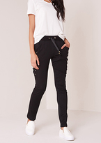 Missy Empire Kimberly Black Lace Up Detail Joggers