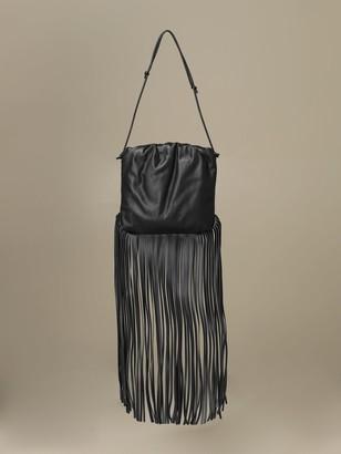Bottega Veneta The Fringe Pouch Bag In Leather With Fringes
