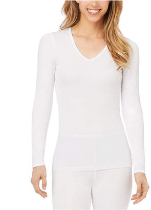 Cuddl Duds Softwear Lace-Edge Long-Sleeve V-Neck Top