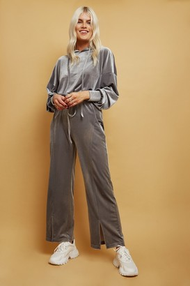 Little Mistress Brynn Silver Velvet Hoodie And Wide-Leg Trousers Lounge Co-ord Set