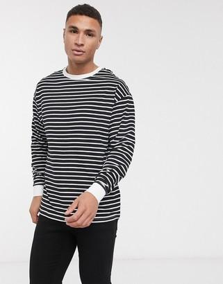 New Look long sleeve stripe cuff t-shirt in black