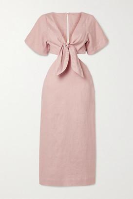 Cult Gaia Maya Tie-front Cutout Linen Midi Dress - Blush