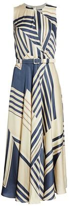 Lafayette 148 New York Amalia Eclipse-Print Belted A-Line Dress