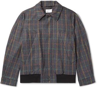 4SDESIGNS Checked Wool-Blend Blouson Jacket - Men - Gray
