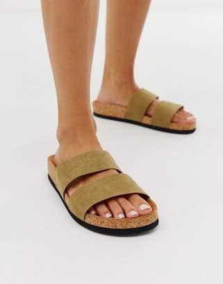 Monki double strap sandal in khaki faux suede-Green