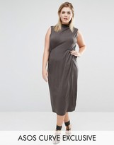 Asos Column Dress in Crepe with Funnel Neck and Pocket Detail