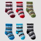 Cat & Jack Boys' Space Dye Striped Crew Socks 6pk Cat & Jack - Heather Grey