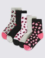Marks and Spencer 5 Pairs of FreshfeetTM Cotton Rich Assorted Socks (1-14 Years)