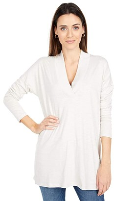 Lilla P Flame Modal Ribbed Collar Tunic (Alabaster) Women's Clothing