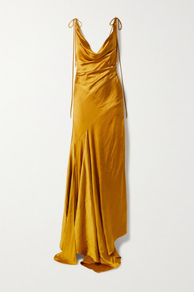 SOLACE London Aletta Asymmetric Draped Hammered-satin Gown - Gold