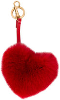 Anya Hindmarch heart bag key ring - women - Rabbit Fur - One Size