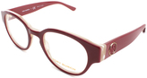 Tory Burch Burgundy & Cream Round Eyeglasses
