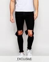 Reclaimed Vintage Super Skinny Jeans With Cutaway Knees