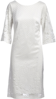 Off White Lace Three-Quarter Sleeve Dress