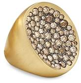 Antonini 18K Yellow Gold Extra Large Matte Matera Pave Cognac Diamond Ring