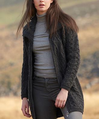 West End Knitwear Women's Overcoats CHARCOAL - Charcoal Double-Collar Wool Coat - Women