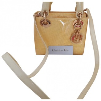 Christian Dior Lady Yellow Patent leather Handbags