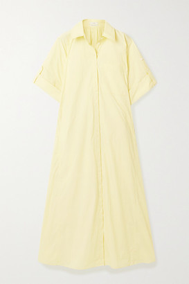 Co Gathered Cotton-blend Poplin Shirt Dress - Pastel yellow