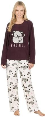 Forever Dreaming Sst Uk Forever Dreaming Womens Novelty Pyjama Set - Fleece Animal PJ Top & Bottoms Bundle with Free Eye Mask (Burgundy L)