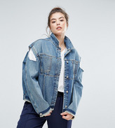 Asos Denim Deconstructed Jacket With Cold Shoulder