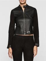 Calvin Klein Rebel Edge Leather Biker Jacket