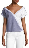 Opening Ceremony Cody Off-the-Shoulder Striped Poplin Top, Blue