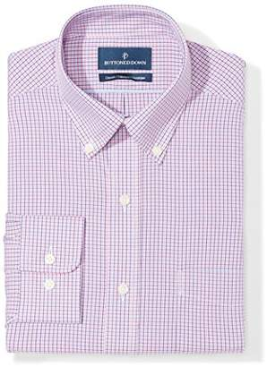 Buttoned Down Classic Fit Button Collar Pattern Dress Shirt, (Purple/Blue Check)