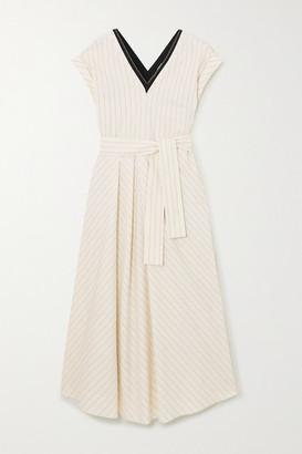 Brunello Cucinelli Bead-embellished Pinstriped Stretch-cotton Poplin Midi Dress - Ivory