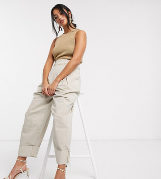 ASOS DESIGN Petite inverted pleat clean balloon leg pant with turn up