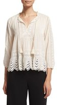 Rebecca Taylor 3/4-Sleeve Cotton Voile Eyelet Top, Cream
