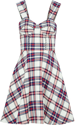 House of Holland Flared Checked Twill Dress