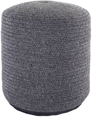 Jaipur Living Bridgehampton Solid Dark Gray Indoor & Outdoor Pouf