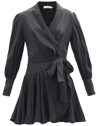 Zimmermann Belted Silk Wrap Mini Dress - Black