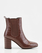 Le Château Croco Embossed Faux Leather Square Toe Boot
