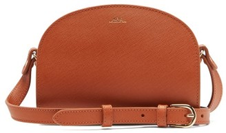 A.P.C. Half-moon Mini Saffiano-leather Cross-body Bag - Womens - Tan