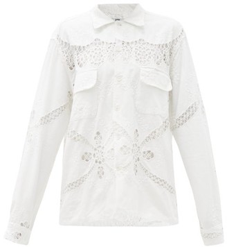 Bode Floral-embroidered Broderie-anglaise Cotton Shirt - Beige