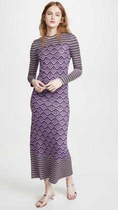 Paco Rabanne Metallic Jacquard Stripes and Argyle Dress