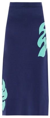 STAUD Reef Hibiscus-jacquard Jersey Midi Skirt - Navy