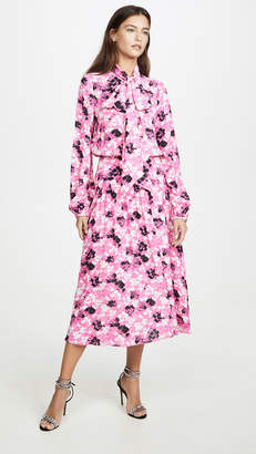 No.21 No. 21 Floral Midi Long Sleeve Dress with Tie