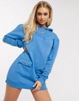 Daisy Street oversized hoody sweater dress in blue