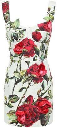 Dolce & Gabbana Embellished Floral-print Cotton-blend Jacquard Mini Dress