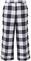 Thom Browne Cropped Frayed Checked Wool-blend Pants - Navy