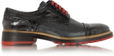 Forzieri Italian Handcrafted Smoke Black and Graphite Leather Derby Shoe