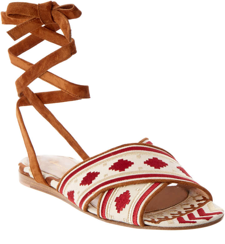 Gianvito Rossi Embroidered Canvas & Suede Lace-Up Sandal