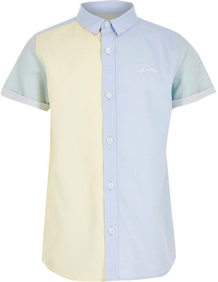River Island Boys blue colour blocked 'River' shirt