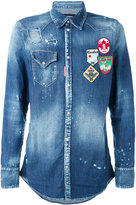 DSQUARED2 patch denim shirt - men - Cotton/Spandex/Elastane - 52