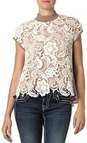 Miss Me Junior's High Neck Lace Front Top
