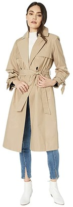 Sam Edelman Cotton Double Breasted Trench Bow Sleeve (Sand) Women's Clothing